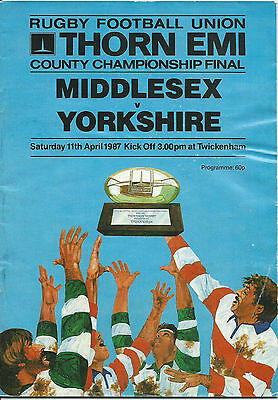 MIDDLESEX v YORKSHIRE RUGBY UNION COUNTY FINAL PROGRAMME 11 APRIL 1987