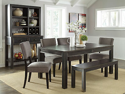 KENDALL - 6pcs Modern Rectangular Dining Room Table Bench Chairs Set Furniture