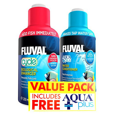 Fluval Cycle Biological Enhancer Value Pack w/ Water Aquaplus Conditioner 250ml