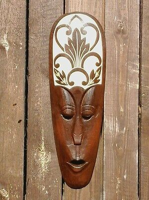 Fair trade hand carved lombok style tribal wall mask (50cm)