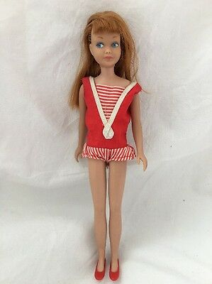 Vintage Straight Leg Titian RED Hair Skipper Doll Original Swimsuit Shoes