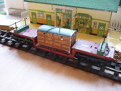 Vintage Hornby O Gauge Trolley Wagon With Container Load