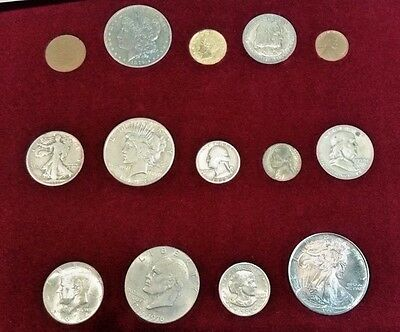 Chronology of American Coins - Civil War to Present 14 Coin Set In Red Wood Case