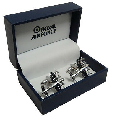 Royal Air Force Lancaster Plane Cufflinks RAF Gift Box Sweetheart Aviator Style