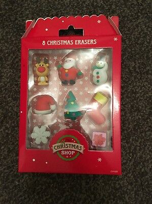 The Christmas Shop Pack Of 8 Christmas Style Erasers / Rubbers BNIP