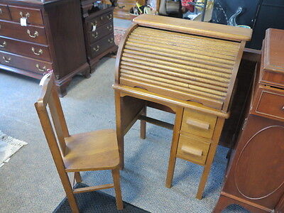Antique Children's Oak Roll Top Desk & Chair - USA