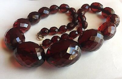Vtg Faceted Cherry Amber Bakelite Graduated Bead Necklace Tested