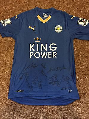 Leicester City FC Hand Signed 2015/16 Squad Shirt Memorabilia Exact Proof COA