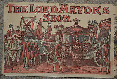 RARE HAND COLOURED FOLDING PANORAMA C. 1860 The Lords Mayor's Show OPTICAL TOY
