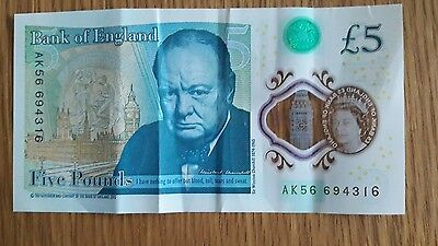 Collectable Genuine New Polymer/plastic £5 Note With Serial Number  Ak56