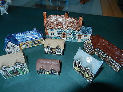 4 WADE pottery houses and 3 others