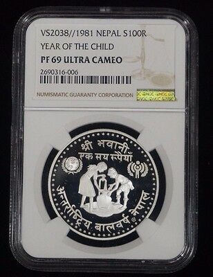 1981 Nepal Year of The Child PF 69 Ultra Cameo Silver NGC Coin