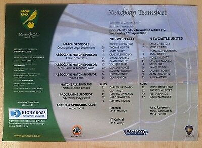 Norwich City v Newcastle United Matchday Teamsheet - 20th April 2005