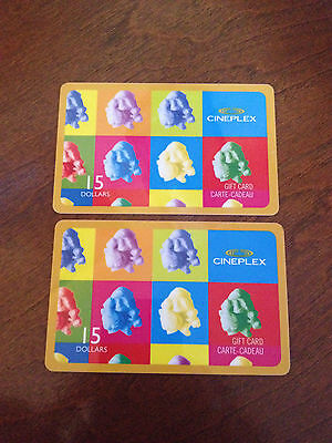 Two (2) $15 Cineplex Gift Cards - total of $30