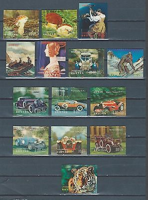 Bhutan selection of mnh 3D stamps - art - cars - mushroom - paintings