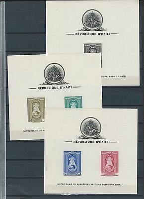 Haiti Sc C 19-21 never hinged perf and imperf stamp sheets - The Madonna