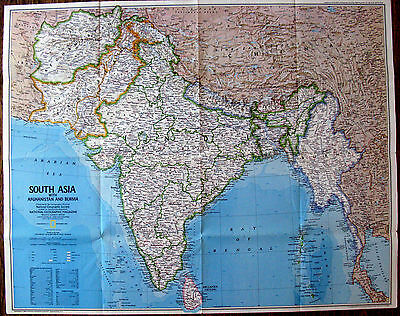 South Asia / Peoples of South Asia -  National Geographic Map / Poster Dec 1984