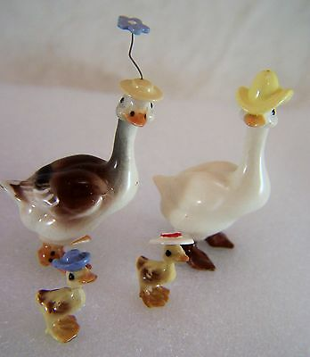 Goose Family All w/ Hats  Figurine by Hagen-Renaker Miniature Collectibles