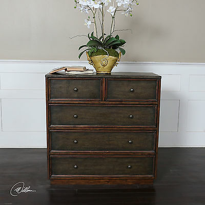 New Six Drawer Wood & Hammered Metal Accent Dresser Chest Rustic Vintage Finish