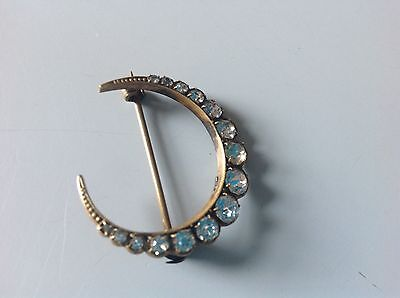 Antique Or Vintage Paste Stone Gold Tone Crescent Brooch Pin