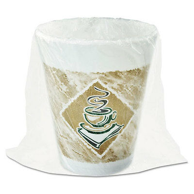 Dart Foam Hot/Cold Cups 8 oz. Café G Design White/Brown with Green Accents