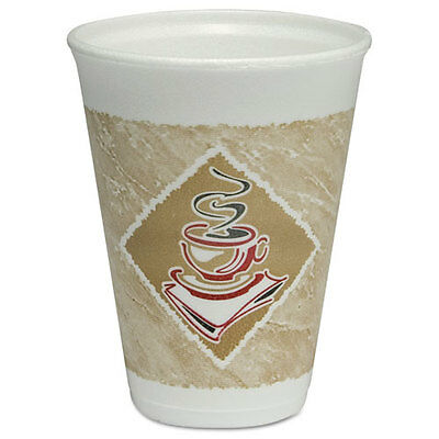 Dart Café G Hot/Cold Cups Foam 12oz White w/Brown & Red 20/Bag 50 Bags/Carton