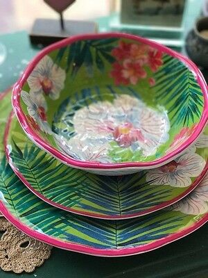 12 Piece Set Dinner, Salad Plates & Bowls Tommy Bahama Melamine Pink Orchid Palm