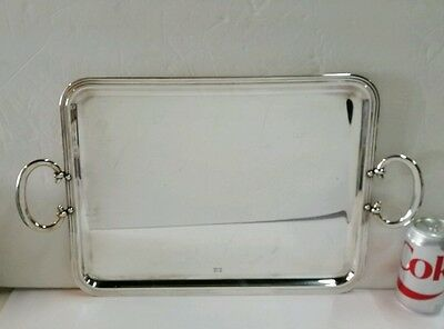 "Christofle Large ""Albi"" Silverplated Handled Serving Tray/Platter"