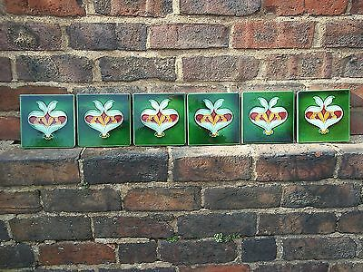 6 English Art Nouveau Tiles c1906