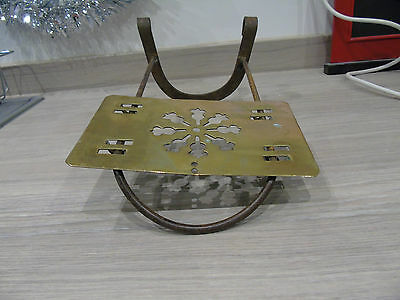 Large Antique Victorian Brass & Steel Hanging Fireplace Hearth Sliding Trivet