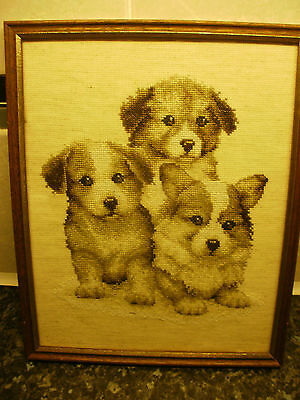 Lovely Completed Cross Stitch Picture,  Puppies