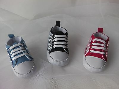 Baby Boy /Girl Pre-Walker soft sole striped canvas sneaker pump with white laces