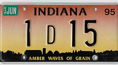 1995 Indiana Amber Waves Of Grain License Plate # 1 D 15 Very Nice Bcplateman