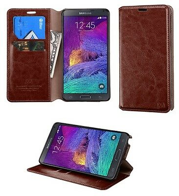 Brand New - 5PCS LOT Wallet Case Cover w/ Tray For Samsung Galaxy Note 4 - Brown