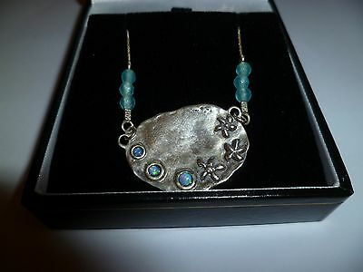 Silver Necklace with Turquoise Beads & Opaline style stones on fine chain NEW