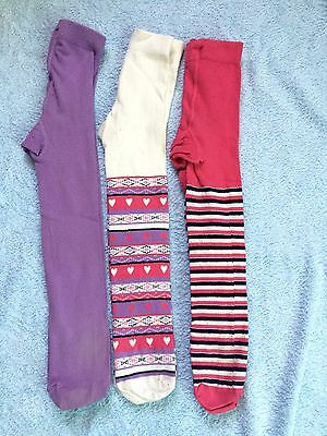 3 Pairs Of M&S Girls Tights Age 2-3 Years