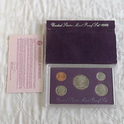 USA 1992 s 5 COIN PROOF YEAR SET - sealed with outer