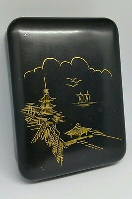 Vintage Japanese Lacquer Trinket Box Scene On Lid