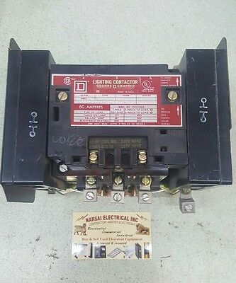 SQUARE D LIGHTING CONTACTOR #8903-SPO4 SERIES A 60 AMP  3 POLE with 2 no contact