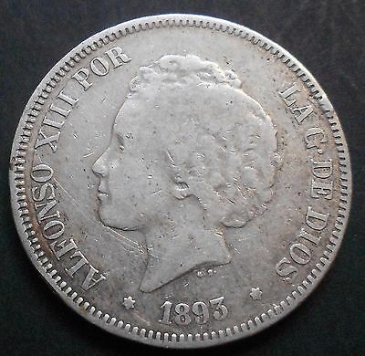 5 PESETAS 1893  ALFONSO XIII   Ref. 51  -PLATA / SILVER-