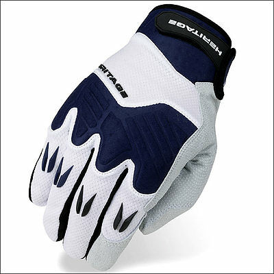 11 Size Heritage Polo Pro Horse Riding Equestrian Padded Glove White/navy