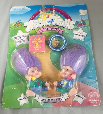 Vtg Magic Trolls Baby Twins Patty Cake Pals 1991 New In Package Applause Toys