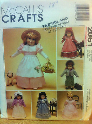 "McCall's Crafts #2061 Uncut 18"" Doll Clothes Pattern Dress Vintage Bonnet"