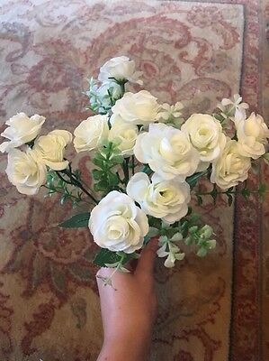Small White Roses Synthetic Bouquet