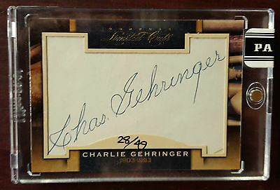 2011 -Donruss Limited Cuts - #57 - Charlie Gehringer - Tigers - Signed #28/49