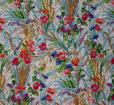 vintage 1970s Sanderson Ceres wild flower meadow print cotton interiors fabric