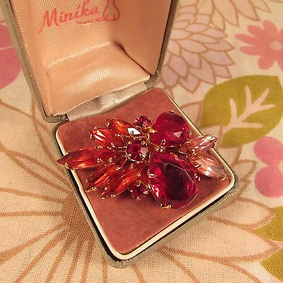 Vintage 1950s/60s Juliana Style Cherry Red & Pink Rhinestone Cluster Brooch Pin