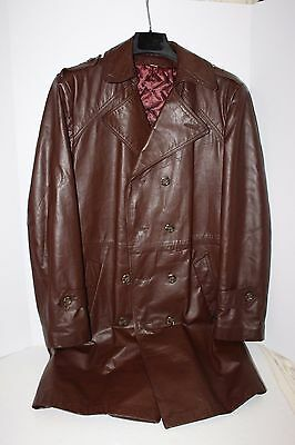 Brown Long Leather Coat Jacket Warm Weather Men's Small Trench Vintage Retro