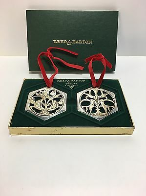 Reed & Barton 12 Days of Christmas Ornaments 3 French Hens & 4 Calling Birds