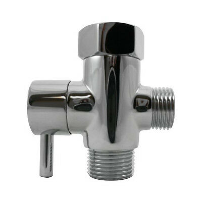"""7/8"""" Metal T-adapter with Shut-off Valve, 3-way Tee Connector, Chrome Finish"""